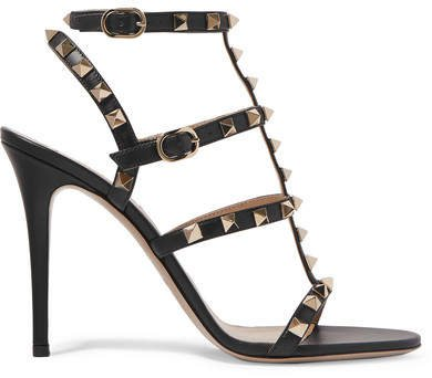 Garavani The Rockstud 105 Leather Sandals - Black