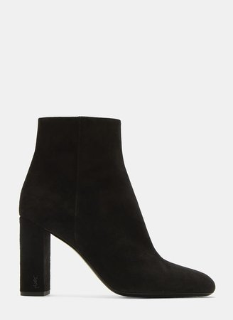 SAINT LAURENT  LouLou 95 Zipped Suede Ankle Boots in Black