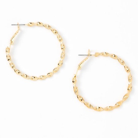 Gold 40MM Twisted Textured Hoop Earrings | Claire's