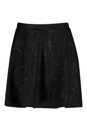 Croc Pu Coated Skater Skirt | Boohoo Plus