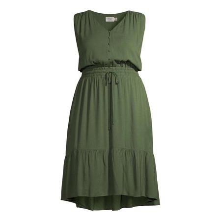Terra & Sky - Terra & Sky Women's Plus Size Button Front Tie Waist Dress - Walmart.com - Walmart.com green