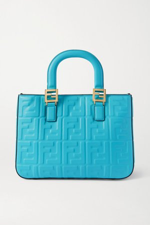 Small Embossed Leather Tote - Blue