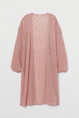 Lace-knit Cardigan - Pink