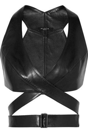 Alaïa | Leather wrap bra top | NET-A-PORTER.COM