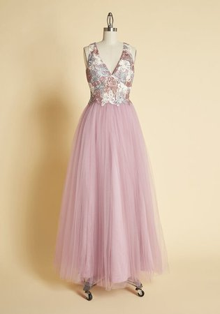 Floaty and Floral Tulle Maxi Dress Pink Multi | ModCloth