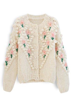 Stitch Floral Diamond Pom-Pom Hand Knit Cardigan - Retro, Indie and Unique Fashion