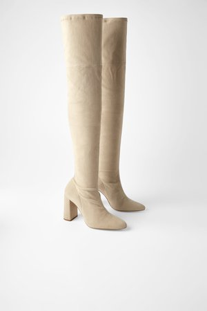 OVER - THE-KNEE SUEDE HIGH HEEL BOOTS-Boots-SHOES-WOMAN | ZARA United Kingdom