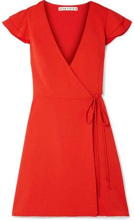 Alice Olivia - Doralee Crepe Wrap Dress - Red