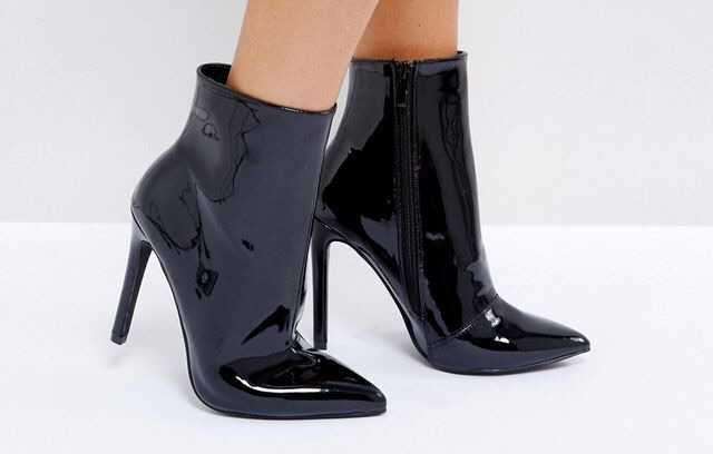 black patent leather ankle boots booties