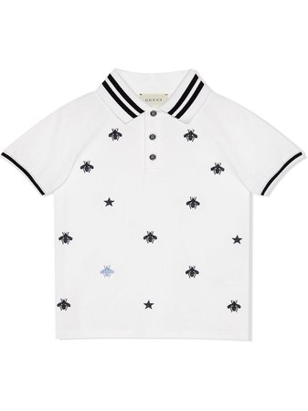 Gucci Kids Children's polo with bees and stars $265 - Buy Online SS19 - Quick Shipping, Price