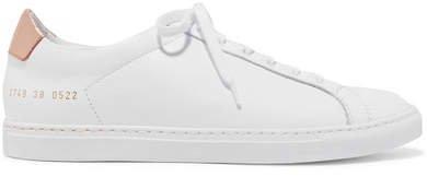 Retro Metallic-paneled Leather Sneakers - White