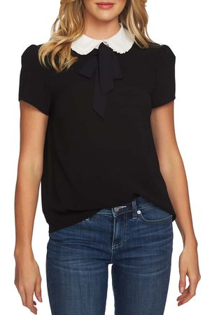 CeCe Ruffle Collar Short Sleeve Blouse | Nordstrom
