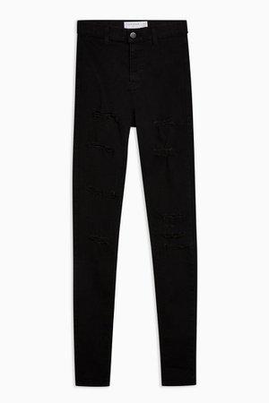 Black Super Rip Belt Loop Joni Skinny Jeans   Topshop