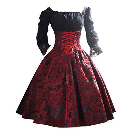 Aoukey Ladies Dress Retro Gothic Court Princess Dress Fashion Punk Lace Waist Bandage Stitched Vintage Skirt at Amazon Women's Clothing store