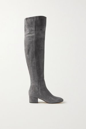 Gray 45 suede over-the-knee boots | Gianvito Rossi | NET-A-PORTER