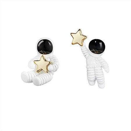 Amazon.com: SimpleLif Cute Stud Earring/Astronaut Small Asymmetrical Earrings for Women Girl,1.6 X 2.2 cm: Sports & Outdoors