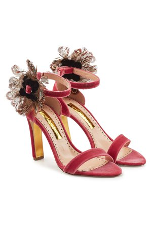 Nymphea Velvet Sandals with Feathers Gr. IT 39