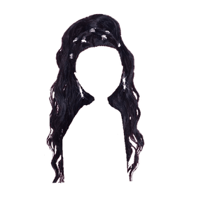 black hair png half up clips