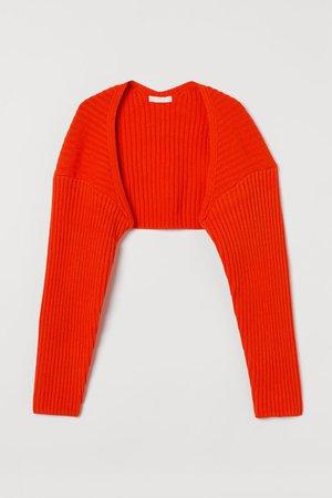 Rib-knit bolero - Orange-red - Ladies   H&M GB