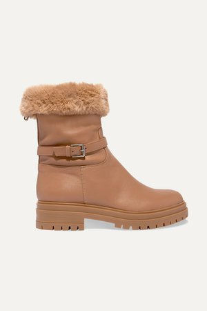Faux Fur-lined Leather Boots - Beige