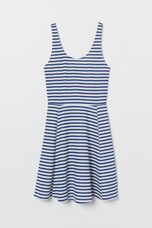 Robe sans manches en jersey - Blanc/bleu/rayé - FEMME | H&M FR