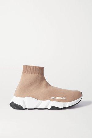 Beige Speed stretch-knit high-top sneakers | Balenciaga | NET-A-PORTER