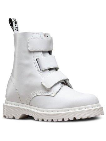 White velcro combat boots