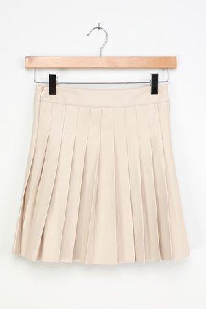 Vegan Leather Mini Skirt - Beige Tennis Skirt - Pleated Skirt - Lulus