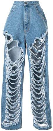 Pony Stone distressed wide-leg jeans