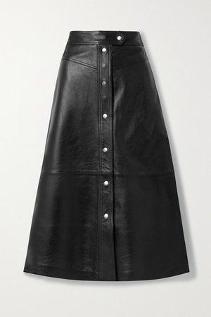 Gianna Leather Midi Skirt - Black