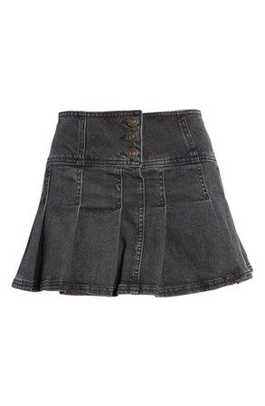 Stretch Denim Kilt Miniskirt | Nordstrom
