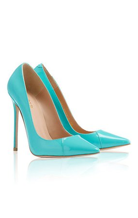 "Shoes: 'PARIS' Aqua Patent Leather Pointy Toe Heels 5"""