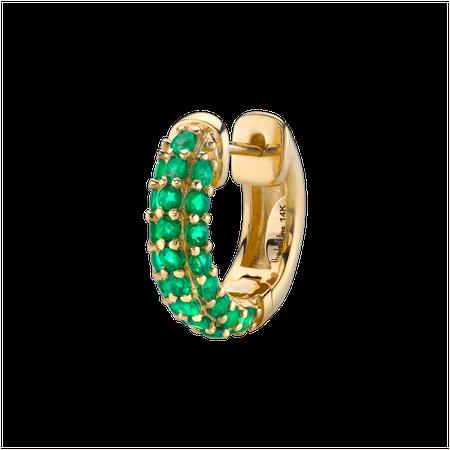 Emerald Pavé Wide Hoop Earrings