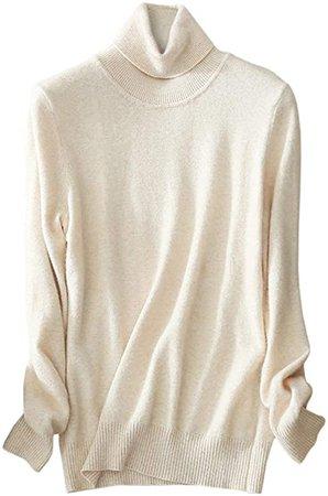 LATUD Womens Cashmere Long Sleeve Turtleneck Basic Knit Pullover Sweater, Beige, X-Large=US 16-18 at Amazon Women's Clothing store