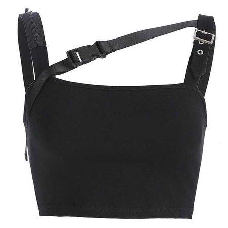irregular buckles zipper tank top – Lupsona