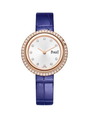 Piaget Possession 18K Rose Gold & Diamond Bezel Blue Alligator Strap Watch   SaksFifthAvenue