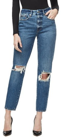 Good Vintage Ripped Ankle Straight Leg Jeans