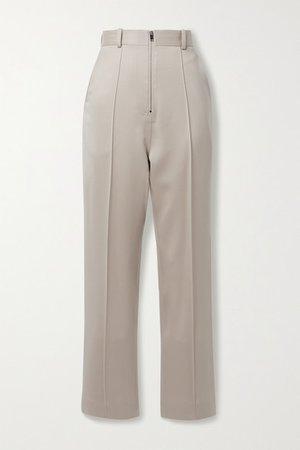 Wool Straight-leg Pants - Beige