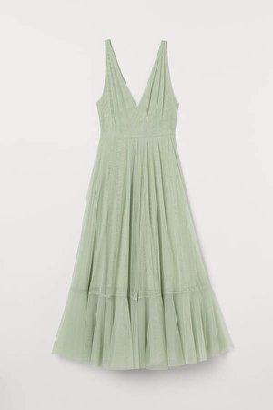 V-neck Tulle Dress - Green