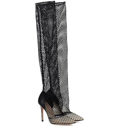 Celia fishnet over-the-knee boots
