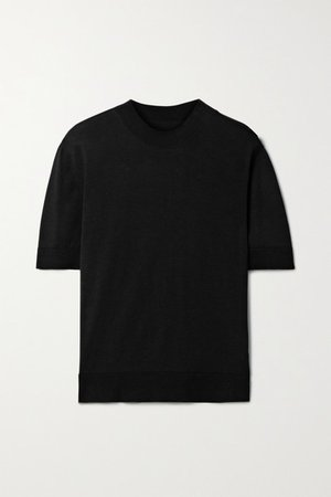 Net Sustain Delicate Organic Cotton And Silk-blend T-shirt - Black