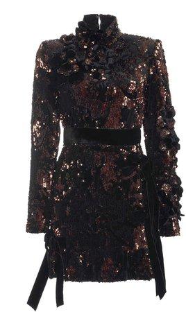 Paillette-Embellished Velvet Mini Dress