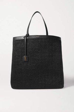 Patti Leather-trimmed Raffia Tote - Black