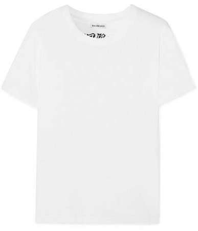 Tattoo Embroidered Cotton-jersey T-shirt - White