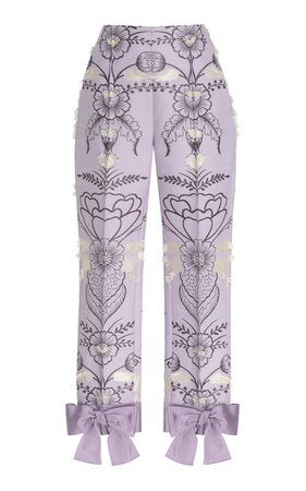 Embellished Fil Coupé Floral Jacquard Pants With Bows by DELPOZO | Moda Operandi