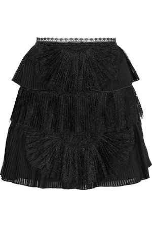Iggy lace-paneled pleated tiered organza mini skirt | ALICE + OLIVIA | Sale up to 70% off | THE OUTNET