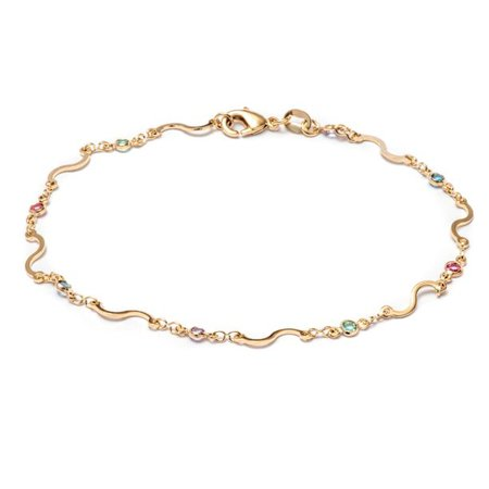 "Peermont Jewlery - Peermont 18k Gold Plated S Chain Anklet Made with Multicolored Swarovski Elements- 10"" - Walmart.com - Walmart.com"
