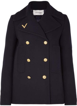 Embellished Double-breasted Wool Peacoat - Navy