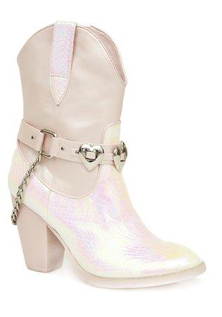Sugar Thrillz Pink Iridescent Cowboy Boots | Dolls Kill