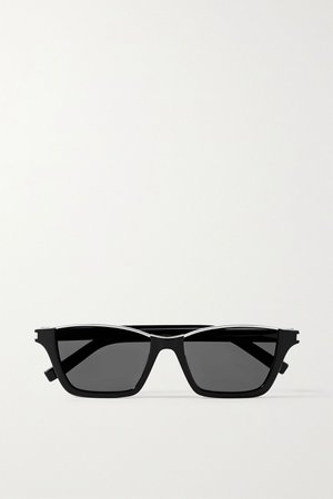 Black Dylan cat-eye silver-tone and acetate sunglasses | SAINT LAURENT | NET-A-PORTER